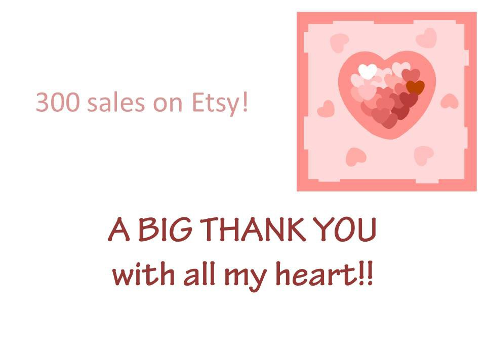 300 sales on Etsy